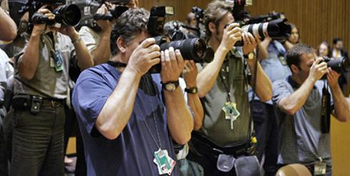 Jornalistas em Nova York durante coletiva de imprensa na ONU.