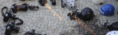 Ato de jornalistas no Rio de Janeiro homenageira colega morto Santiago Andrade, atingido na cabeça por um rojão quando cobria uma manifestação. Foto: Fernando Frazão/Agência Brasil